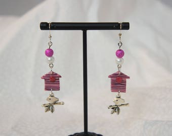 Earrings pink birdhouse bird and beads, earrings long pink striped and silver, handmade jewelry effect white wooden beads