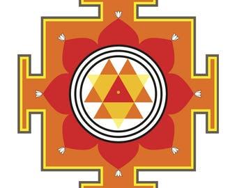 Colored hinduism Durga yantra Dum Durgaye