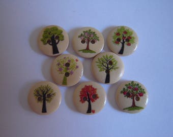 10 buttons tree NATURE / / 15 mm