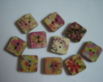 10 BUTTONS WOOD FLOWER SHAPED SQUARES / / 15 MM / / SET OF 4