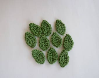10 green leaves crochet