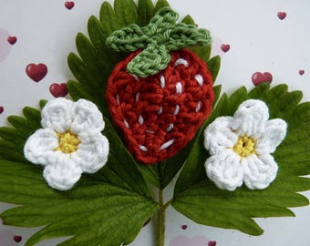 Strawberry red and 2 flowers - handmade cotton crochet application