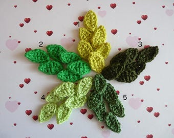 6 small green leaves crochet - free choice