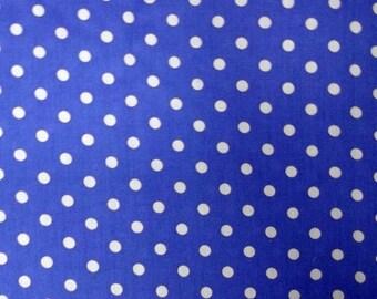 Coupon 50 x 50 cm cotton blue white polka dots 7 mm - fabric cotton blue polka dot white