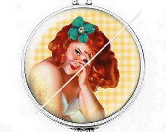 Great connector silver cabochon vintage enjoy pinup girl 1