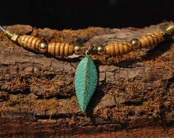 Brass gold wood leaf  boho crown