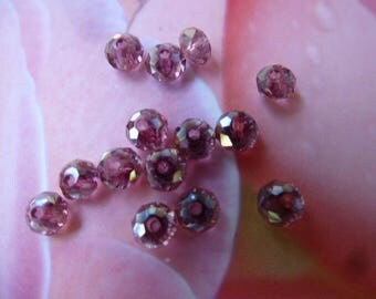 Crystal AB beads faceted abacus 3 x 4 mm set of 25 Purple Purple