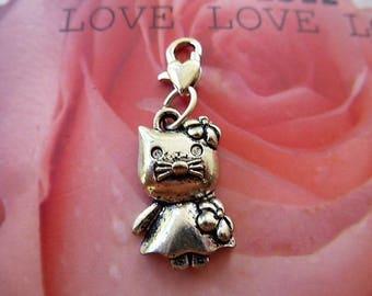 charm charm cat silver Tibet clasp heart Kit