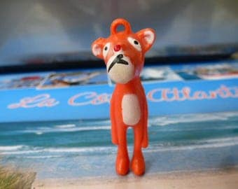 Panther figurine orange for creating key ring, plastic, gift, decoration, embellishment, gadget,