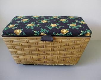 Large Vintage wicker sewing basket with vintage stuff