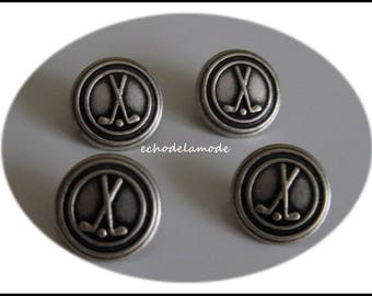 set of 4 pewter gray metal buttons 12 mm diameter golf clubs