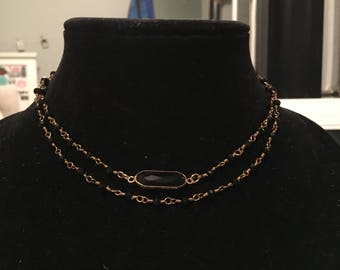 black/gold necklace set