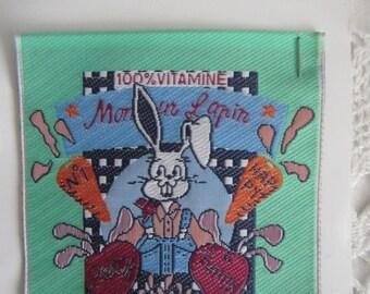 "Pattern, applied sewing representing ""Monsieur Lapin"""