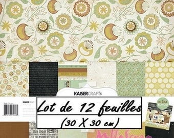 "Set of 12 leaves theme ""Take Note"" 30 X 30 cm scrapbooking (réf.210) *."