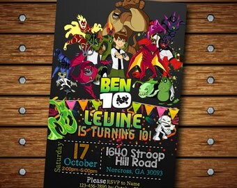Ben 10 Invitation,Ben 10 Birthday Invitation,Ben 10 Invite,Ben 10 Birthday,Ben Invitations,Ben Birthday,Superhero Invitation,Superhero SS