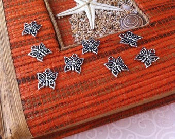 10 charms shaped small butterflies, Openwork, silver color