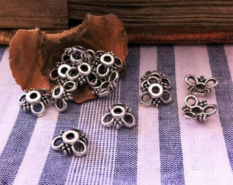 10 cups 3-petal silver flowers 10 mm for making jewelry or accessories