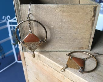 the triangles and half moon earrings