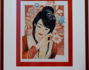 Embroidery picture Japanese girl