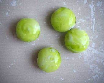Set of 4 glass beads light green round flat 15mm not solid, features white inside