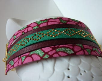 "Ethnic bracelet ""Wax"" pink, Burgundy, green"