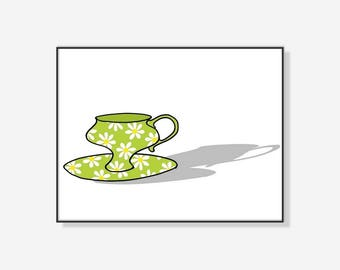 printable art, kitchen art, instant download, wall decor, drawing,coffee cup print, coffee mug, green cup