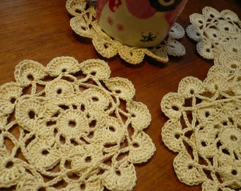 set of 6 coasters, made in ecru cotton crochet doily