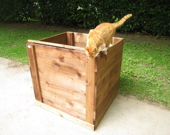 Compost Bin - Single Close-Boarded Sturdy Wooden Composting Box/Removable Front/Optional Lid and Aerating-Base/Garden Compost Maker/FSC Wood