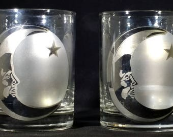 Face in the moon whiskey glasses