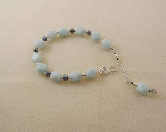 Amazonite and pearl bracelet with hand-forged sterling silver s-clasp and extension/dangle chain
