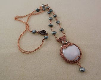 White howlite and wire-weave copper dangle pendant on a baroque freshwater pearl and copper chain necklace