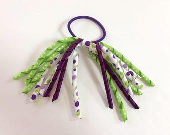 Toddler Girl Korker Ribbon Hair tie, Hairbows, Ponytail Holder, Ribbon Hair Accessory - Purple Green Polka Dots