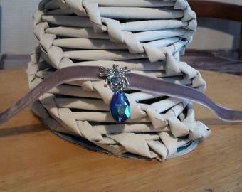 Blue Spider Velvet Ribbon Choker