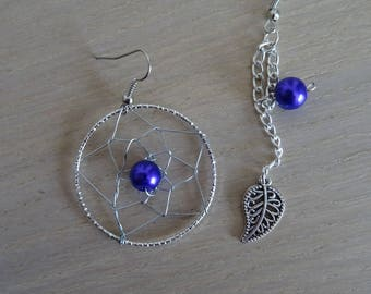 Earrings silver and purple beads