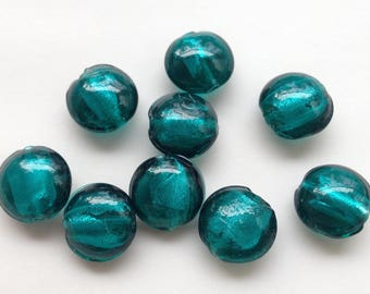 5 / 6 set teal lampwork beads silver green round murano glass handcrafted donut ~ 12mm clear