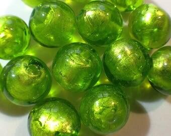 lot 5 Green silver lampwork murano 12mm glass beads