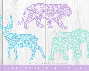 FREE SVG & PNG Link | Mandala Animals Cut Files, svg, png, dxf, eps | Commercial Use | circuit, cameo silhouette | Yoga Cut File