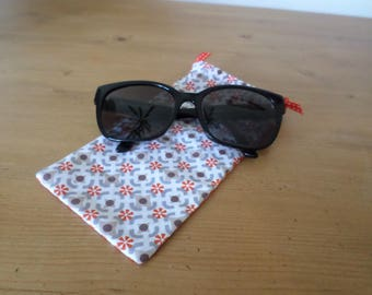 glasses case made with two coordinating fabrics