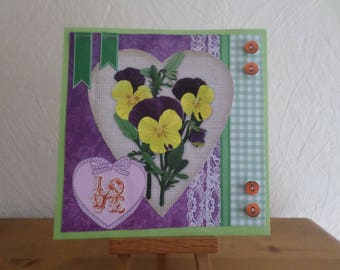 card with purple and yellow pansies