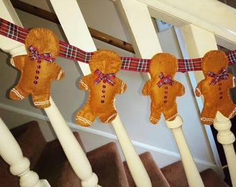 Gingerbread Men Bunting, Gingerbread Men Garland,  Christmas decoration, wall hanging, Christmas home decor, handmade to order