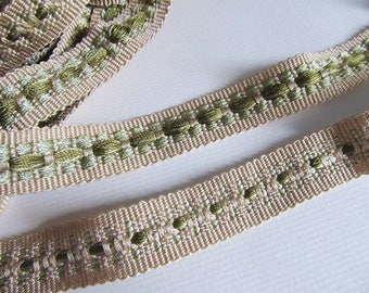 Green and beige 17 mm braid / sold by the yard