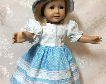 Blue polka dot dress,hat, pantaloons