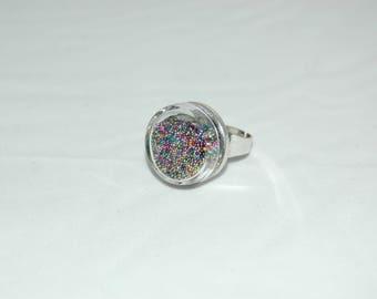 Glass bubble ring - multicolor microbeads Inclusion