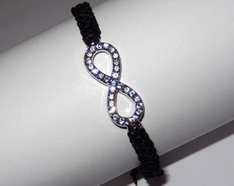 Macrame bracelet black wire and charm infinity with multitude of rhinestones
