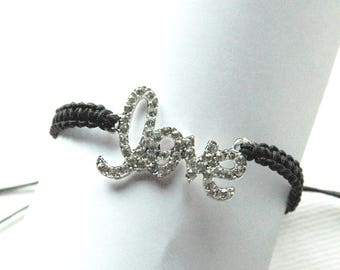 "Macrame bracelet black wire and charm ""love"" with with multitude of rhinestones"