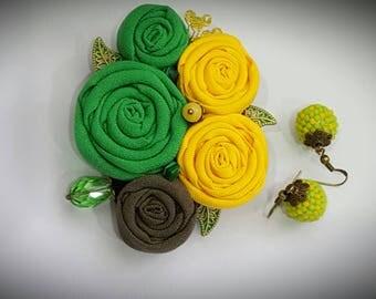 Brooch, Textile brooch, Rose brooch, Floral brooch, текстильная брошь, Statement brooch, Green Brooch, Yellow brooch, Beaded earrings