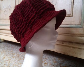 crochet wool cloche hat with visor plum elegant Burgundy-woman Xmas gift-