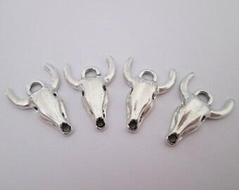 4 breloque crâne de boeuf taureau en métal argenté 21 x 15 mm
