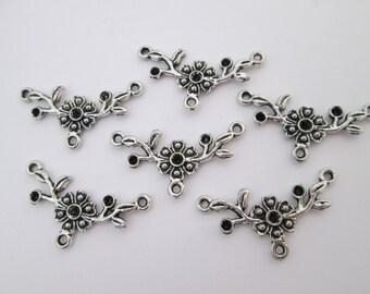 6 connecteur fleur branche 31 x 17 mm en métal argenté