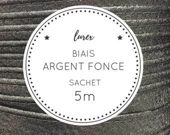 Sachet 5 m bias lurex - dark silver
